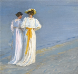 Artwork by Peder Severin Krøyer, ANNA ANCHER AND MARIE KRØYER ON THE BEACH AT SKAGEN, Made of oil on canvas