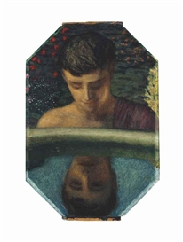 Artwork by Franz von Stuck, Narcissus, Made of oil on panel