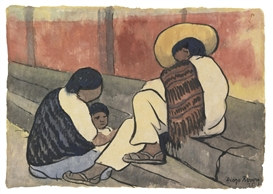 Artwork by Diego Rivera, Mexican Family, Made of Watercolor and ink on rice paper mounted on board