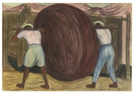 Artwork by Diego Rivera, Chinchorro en Acapulco, Made of Graphite and watercolor on paper