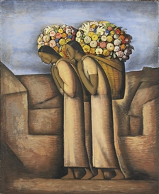 Artwork by Alfredo Ramos Martínez, Vendedoras de Flores, Made of Gouache, pastel and charcoal on cardboard mounted on board