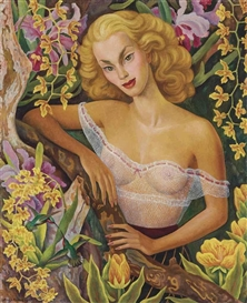 Artwork by Diego Rivera, Portrait of Linda Christian, Made of oil on canvas