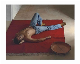 Artwork by Claudio Bravo, Red Carpet, Made of oil on canvas
