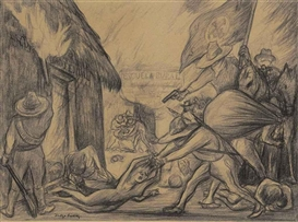 Artwork by Diego Rivera, Sinarquistas, Made of charcoal on brown paper