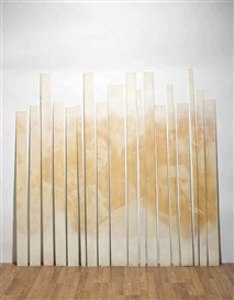 Artwork by Graciela Sacco, Cuerpo a cuerpo XXXII, Made of 18 wood planks