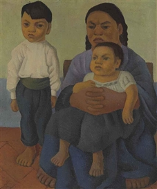 Artwork by Diego Rivera, Mother with Two Children, Made of oil on canvas