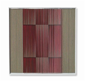 Artwork by Carlos Cruz-Diez, Physichromie No. 441, Made of acrylic, painted PVC and acrylic strips in wooden frame