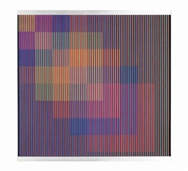 Artwork by Carlos Cruz-Diez, Physichromie No. 652, Made of silkscreen, painted PVC and acrylic strips in aluminum frame