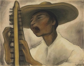 Artwork by Diego Rivera, Harp Player, Made of charcoal and pastel on paper