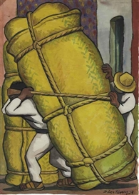 Artwork by Diego Rivera, Cargadores, Made of watercolor on rice paper