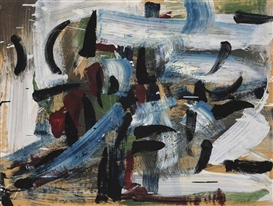 Artwork by Jean-Paul Riopelle, Vent d'ouest, Made of oil on paper on canvas