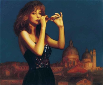 Chen Yifei Lady With Flute 1990 Oil On Canvas