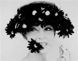 Artwork by William Klein, Barbara with a Black Flower Snack, Paris, Made of Gelatin silver print