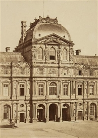 Artwork by Édouard-Denis Baldus, Le Louvre Grand Pavillion de L'Horloge, Made of Albumen print on original mount
