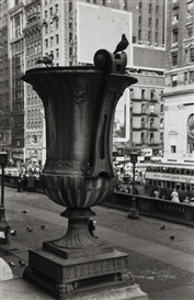 Artwork by Walker Evans, Urn in front of New York Public Library, Made of Gelatin silver print