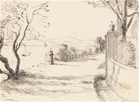 Artwork by Henri Lebasque, Elégante dans un paysage, Made of Ink and ink wash on paper