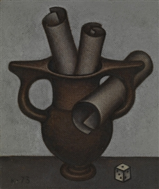 Artwork by Dmitry Krasnopevtsev, Still Life with a Die, Made of Oil on board