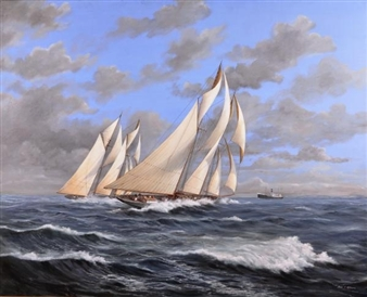 Gloucester Schooners Racing off the Headland By John J. Holmes