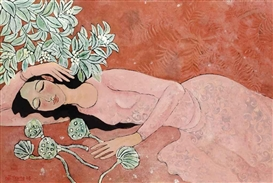 Artwork by Nguyen Trung, Lady with Flowers, Made of lacquer on panel