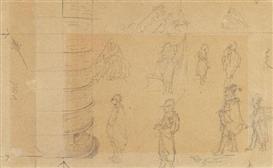 Artwork by Carl Spitzweg, Studienblatt mit 10 charakteristischen Typen als Entwürfe zu Gemälden, Made of Pencil drawing