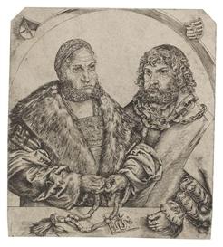 Artwork by Lucas Cranach the Elder, Doppelporträt Friedrich der Weise und Johann der Beständige, Herzöge von Sachsen, Made of Engraving