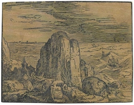 Artwork by Hendrick Goltzius, Kirche an einer felsigen Küste, Made of Woodcut in colors