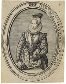 Artwork by Hendrick Goltzius, Bildnis der Gräfin Françoise d'Egmont, Made of Engraving