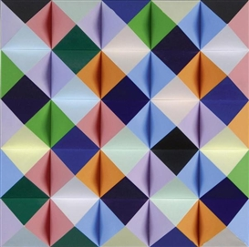 Artwork by Hans Jörg Glattfelder, PYR 229, Made of Polystyrol pyramids mounted on wood