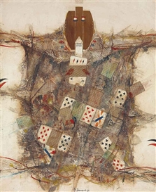 Artwork by Vladimir Nemukhin, The Joker, Made of oil, encaustic, wood panelling and playing cards on canvas