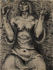 Artwork by Lyndon Dadswell, Supplicating Woman, Made of work on paper