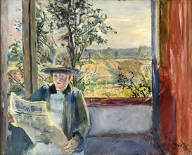 Artwork by Christian Krohg, Oda reads Verdens Gang, Made of Oil on canvas