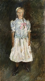 Artwork by Christian Krohg, Standing girl, Made of Oil on board