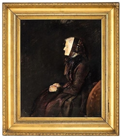 Artwork by Christian Krohg, Marie Krohg in profile, Made of Oil on canvas