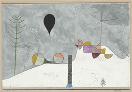 Artwork by Paul Klee, Winterbild, Made of gouache, watercolor, pen and black ink and silver foil collage on paper laid down on board