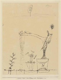 Artwork by Paul Klee, Die Pflanze als Saemann, Made of pen and black ink on paper affixed to the artist's mount