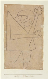 Artwork by Paul Klee, Klage lied, Made of charcoal on paper mounted on card