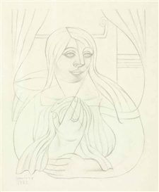 Artwork by Juan Gris, Portrait de jeune fille, Made of pencil on paper