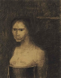 Artwork by Odilon Redon, La Terrible, Made of charcoal on paper
