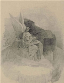 Artwork by Odilon Redon, Figure ailée portant une tête sur un plateau, Made of pencil on paper