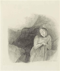 Artwork by Odilon Redon, Apparition, Made of pencil on paper