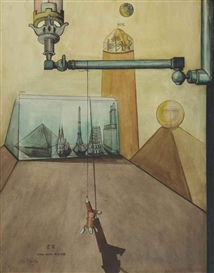 Artwork by Hannah Höch, ER Und Sein Milieu, Made of watercolor and pen and India ink on paper