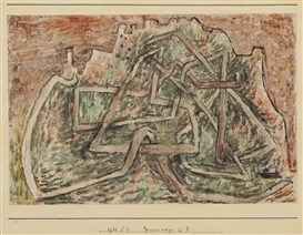 Artwork by Paul Klee, Spazierwege in S, Made of gouache and watercolor on paper laid down on card