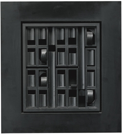Artwork by Louise Nevelson, BLACK EXCURSION 1, Made of painted wood and formica