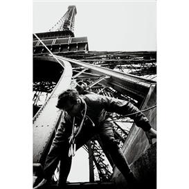 Artwork by Marc Riboud, Worker on the Eiffel Tower, Made of Vintage silver print