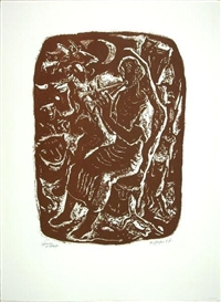 Artwork by Willi Geiger, Orpheus, Made of Lithograph in brown on BFK Rives paper