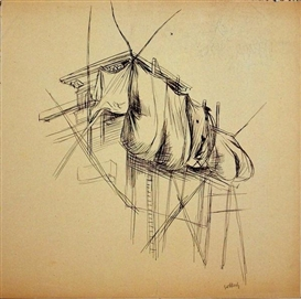 Artwork by Karl Hubbuch, Untitled (Wäsche an der Leine), Made of Pen and ink on light brown paper