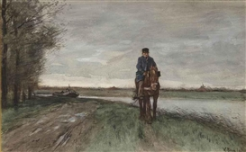 Artwork by Anton Mauve, The barge tow, Made of chalk and watercolour on paper