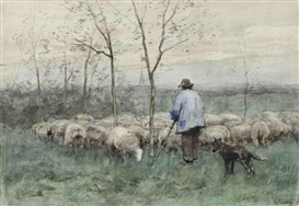 Artwork by Anton Mauve, Herding the flock, Made of watercolour on paper