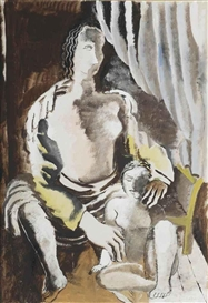 Artwork by Ossip Zadkine, Mother and child, Made of pencil and gouache on paper