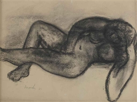 Artwork by Constant Permeke, Reclining nude, Made of charcoal on paper
